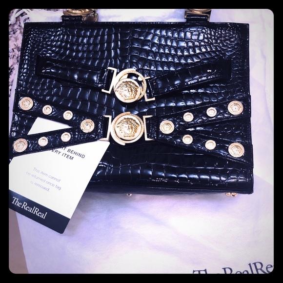 2cd925a01aa Versace Bags   Gianni Leather Croc Embossed Diana Bag   Poshmark